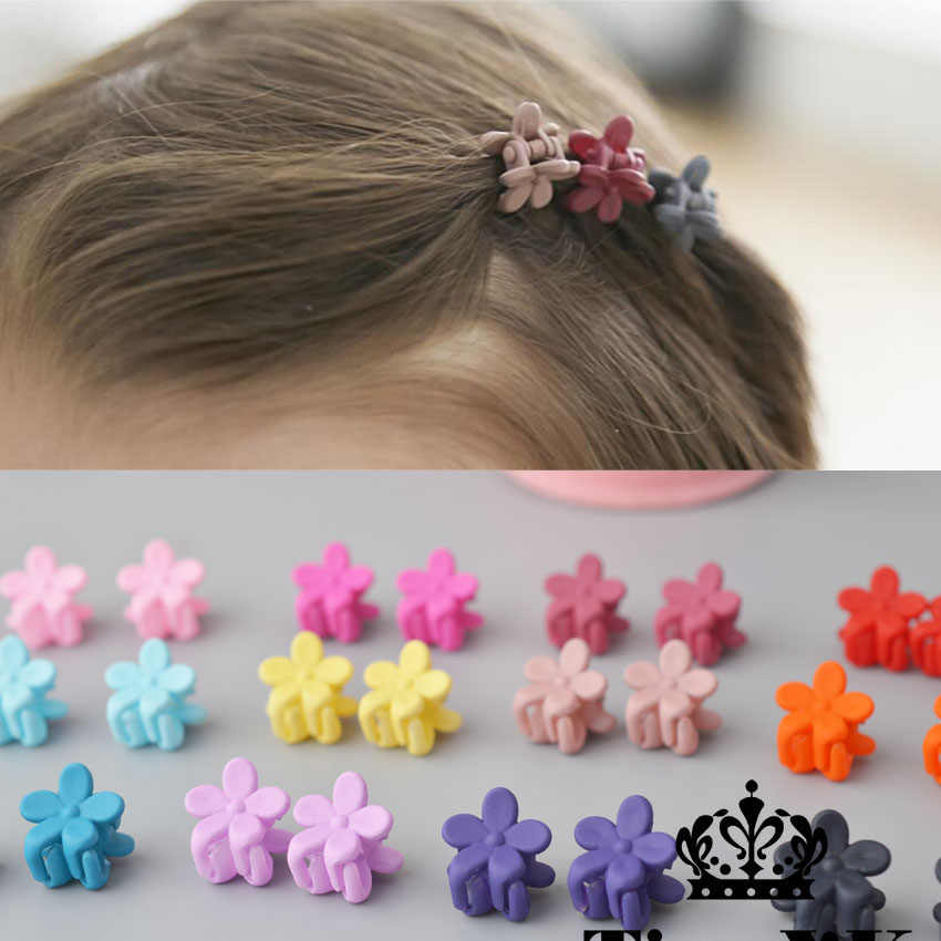 10 pcs New Fashion Baby Girls Small Hair Claw Cute Candy Color flower Hair Jaw Clip Children Hairpin Hair Accessories Wholesale