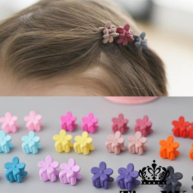 10 pcs אופנה חדשה תינוק בנות קטן שיער טופר חמוד צבעים בוהקים פרח שיער לסת קליפ ילדי מכבנת שיער אבזרים סיטונאי
