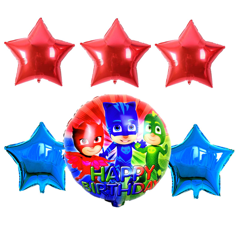 6pcs/set 18inch PJ Mask Star Foil Balloons Baby Shower Pj Masks Birthday  Party Decorations