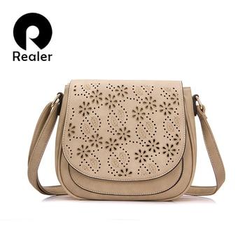 REALER brand designer shoulder bag female vintage floral hollow out handbag solid messenger bags women saddle bag