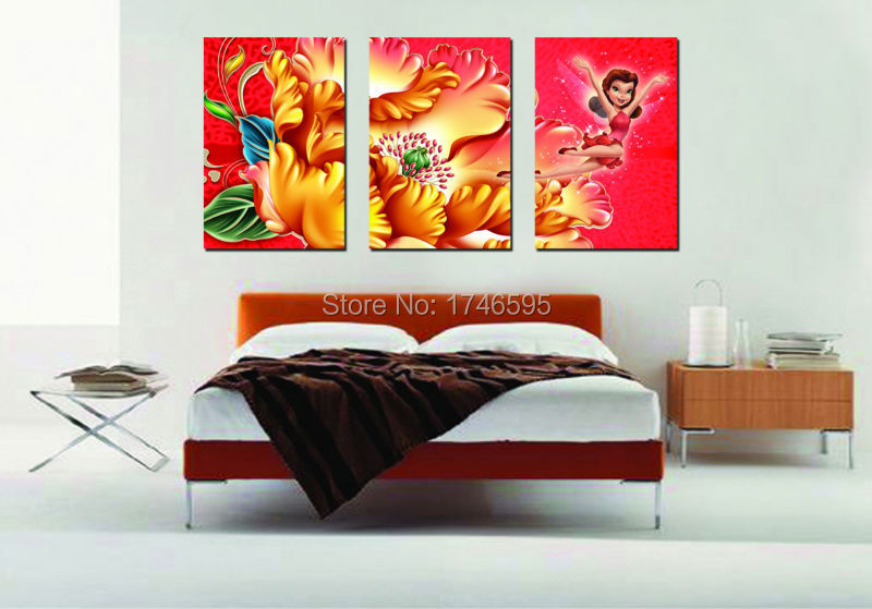 big 3pcs home wall decor water lily princess wall art picture for living room bedroom wall