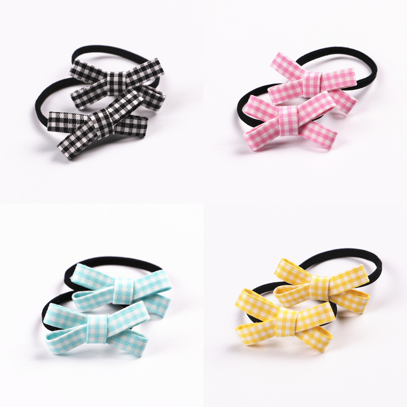 2 PCS  New Small Bowknot Girls Hair Accessories Princess Headwear Kids Elastic Hair Bands Baby Headdress Children Hair Ropes