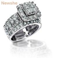Newshe 2 2 Carats Cross Cut Zirconia Solid 925 Sterling Silver Halo Wedding Ring Set Stunning