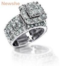 Newshe 2.2 карат вырезать крест циркония Твердые стерлингового серебра 925 Halo обручальное кольцо комплект потрясающие украшения для Для женщин Бесплатная доставка