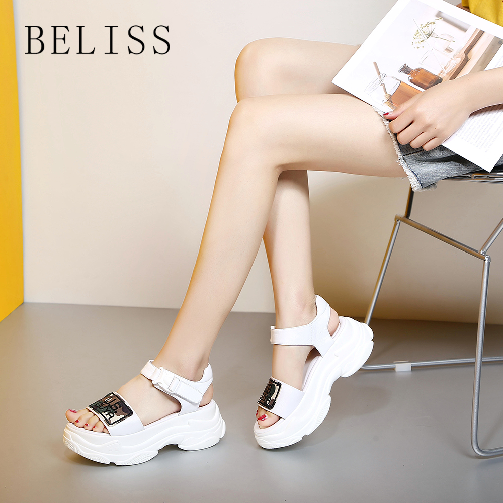 BELISS genuine leather sandals women summer ladies flats sneakers high platform comfortable casual female shoes open