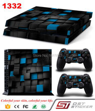 Cool Three dimensional Black and Blue Grid Vinyl Decal For PS4 Skin Sticker for Sony PlayStation