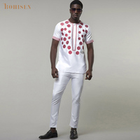 BOHISEN 2019 African Men Clothes 2 Pieces White Dashiki With Sokoto Short Sleeve Round Collar T Shirt Party Dress