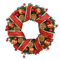 Happy Gift Colorful Christmas Large Wreath Decoration Red Bowknot Ornaments Navidad Decor