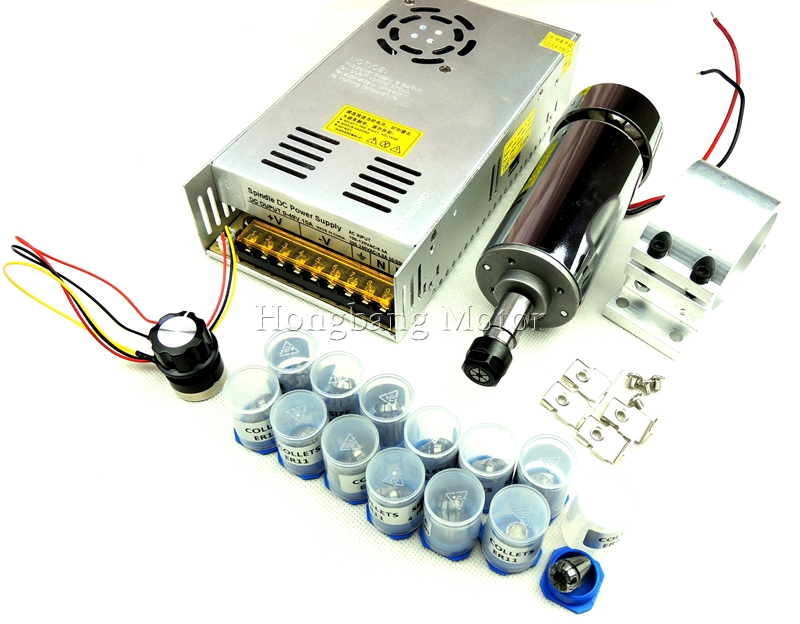DC12-48V 0.4kw spindle motor ER11 chuck CNC 400W Spindle Motor+ 52mm mount bracket+Power Supply speed governor+13pcs ER11 Chuck free shipping 0 5kw air cooled spindle er11 chuck cnc 500w spindle motor power supply speed governor for diy cnc pcb engraving