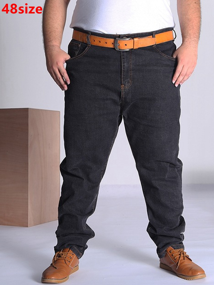 Autumn Large Size Jeans Men Large Code Blue Large Oversized The Elastic Big Men Pants 46 50 52