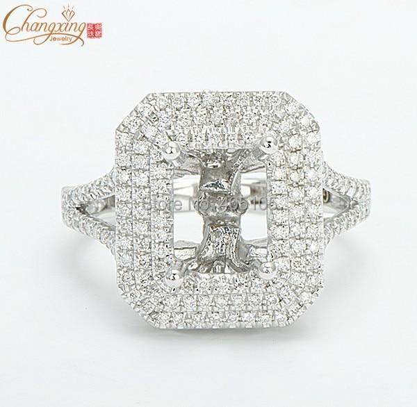 7x9mm Esmeralda 14 K Oro Blanco Natural Pave Diamond Set de Montaje Semi Anillo de Ajuste Envío Gratis
