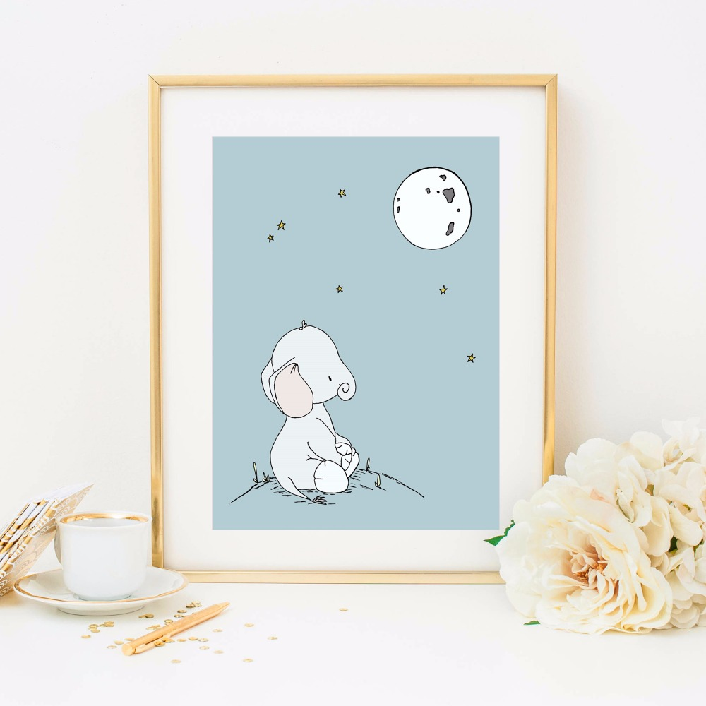 Nursery Baby Elephant Canvas Art Print Painting Poster Wall Pictures For Kids Room Home Decorative Bedroom Decor No Frame in Painting Calligraphy from Home Garden