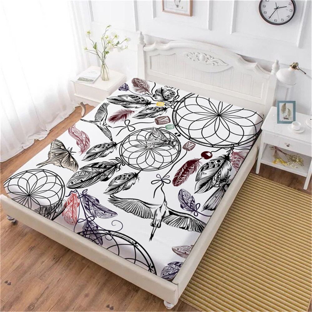 Colorful Feather Bed Sheet Floral Dream Catcher Fitted Bohemia Decor Bedding King Queen Deep Pocket Home D45