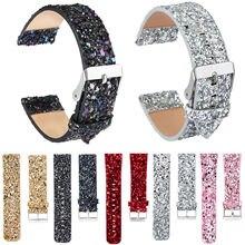 """22 מ""""מ גליטר חג מולד רצועת עור עבור Samsung הילוך S3 Frontier רצועת מבריק בלינג שעון צמיד עבור ציוד S3 קלאסי צמיד"""