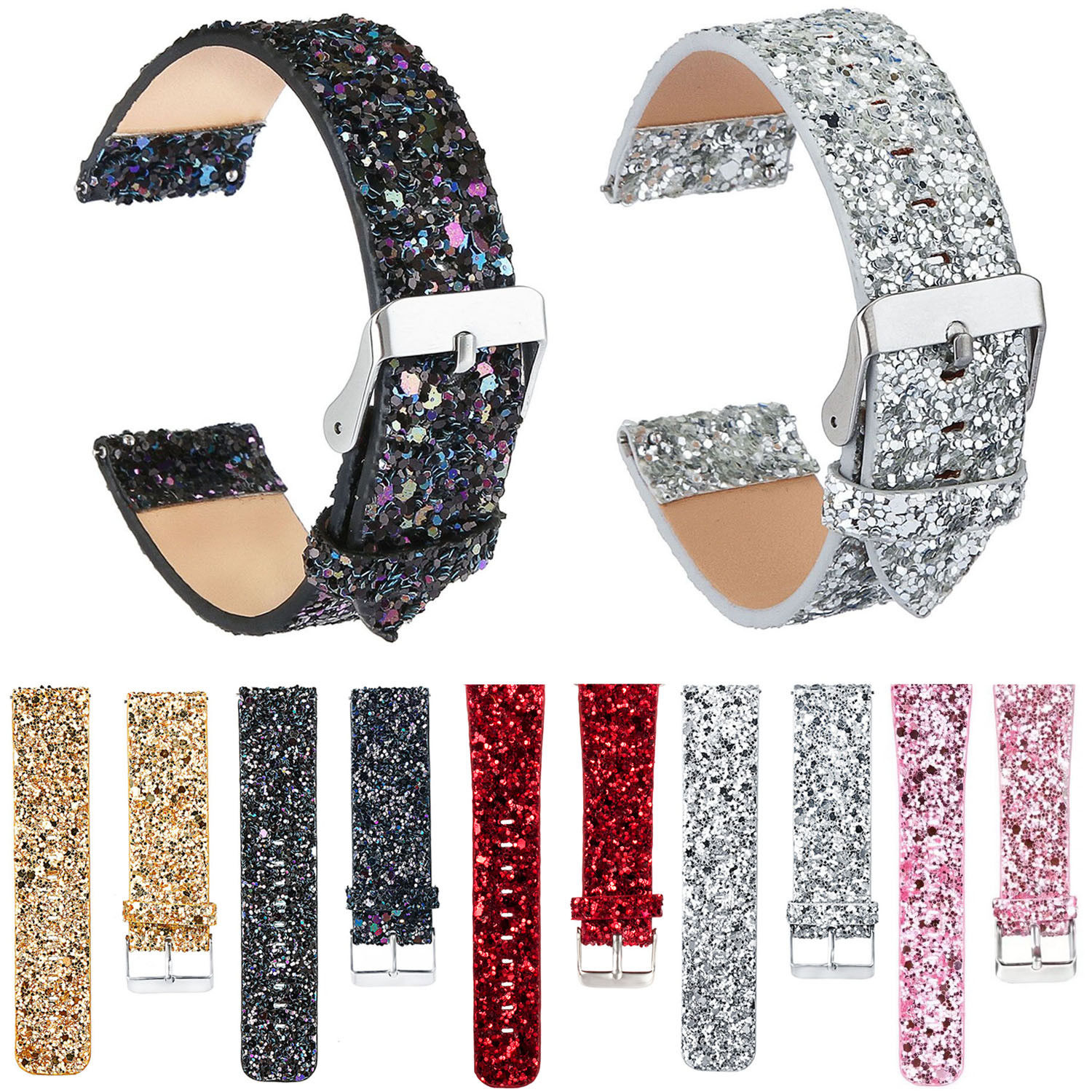 22mm Glitter Christmas Leather Band For Samsung Gear S3 Frontier Strap Shiny Bling Watch Bracelet For Gear S3 Classic Wristband