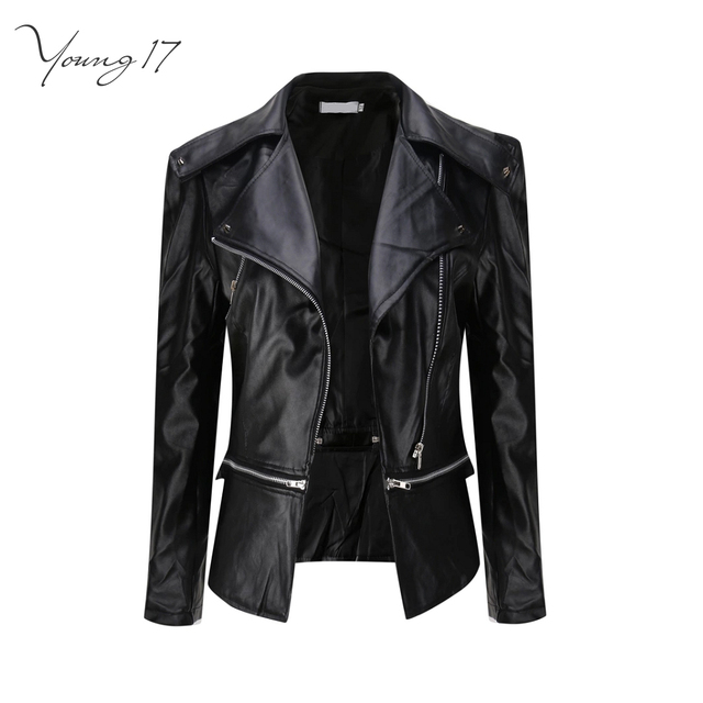 6798266c US $16.63 48% OFF|Young17 Faux Leather Jackets Women Biker Jacket Spring  Winter Army Green Khaki Black Brown Zipper PU Coat Motorcycle Outerwear-in  ...