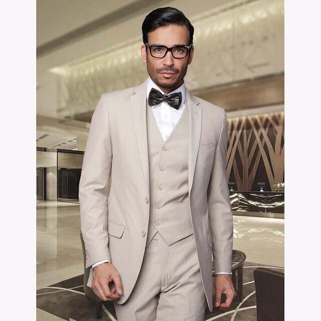 2017 Custom Made Wedding Suit Men Tuxedos Jacket Pants Vest Slim Fit