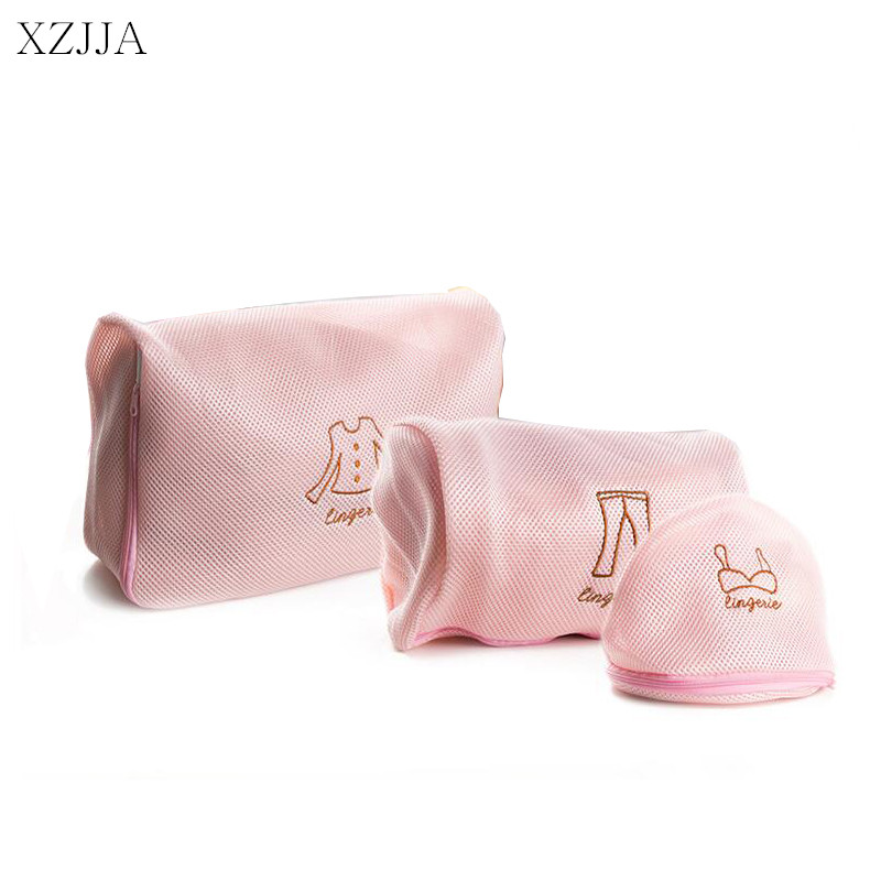XZJJA Pink Thickened Laundry Bags Women Bra Socks Trousers Tops Underpants Zipper Mesh Washing Bag Pouch Clothes Protector Case