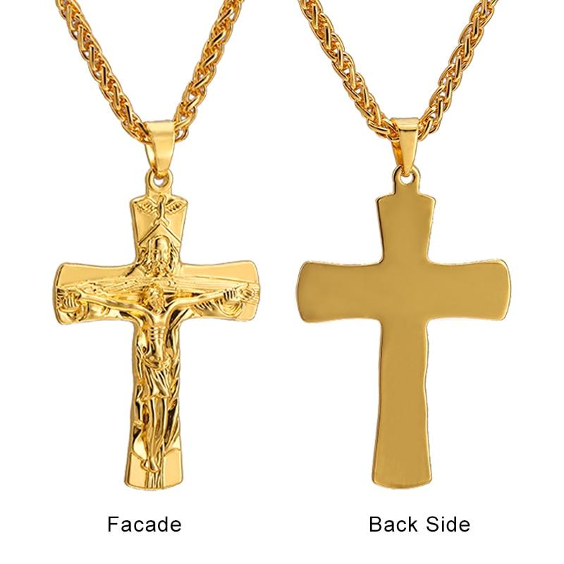 89000ac97fa6 Comprar ahora. Cadena de acero inoxidable de Color dorado con colgantes y  collares de cruz de Jesús crucifijo
