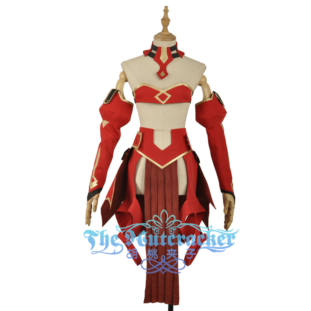 Fate Cosplay Apocrypha Rider Girls Dress Mordred Cosplay Costume Custom Red Girl Medieval Dress Sexy Open