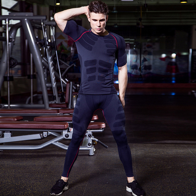 New Dry Fit Compression Tracksuit Fitness Tight Running Set T-shirt Legging Men's Sportswear Demix Black Gym Sport Suit