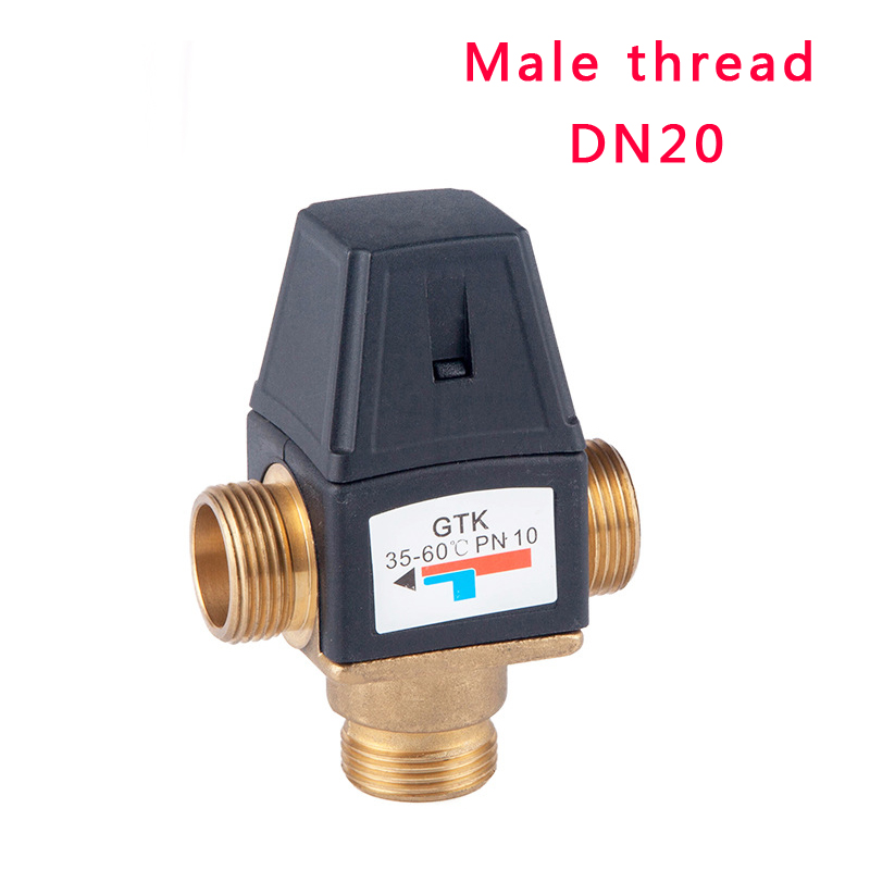 3 Way Brass Male Thread Thermostatic Mixing Valve DN20 Solar Water Heater Valve 3 Way Thermostatic