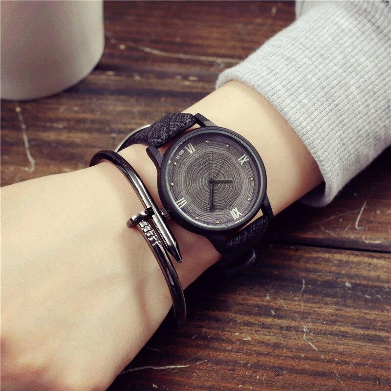 New Wood Women Watches Retro 2016 Casual Luxury Brand Vintage Leather Quartz Clock Woman Fashion Simple