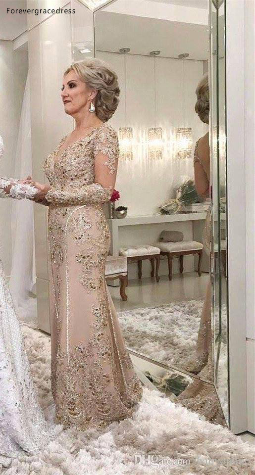 2019 Mother Of The Bride Dresses A Line Sheer Long Sleeves Formal Godmother Evening Wedding Party Guests Gown Plus Size