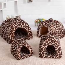 Soft Strawberry Leopard Pet Dog Cat House Tent Kennel Doggy Winter Warm Cushion Basket Animal Bed Cave Pet Products Supplies(China)