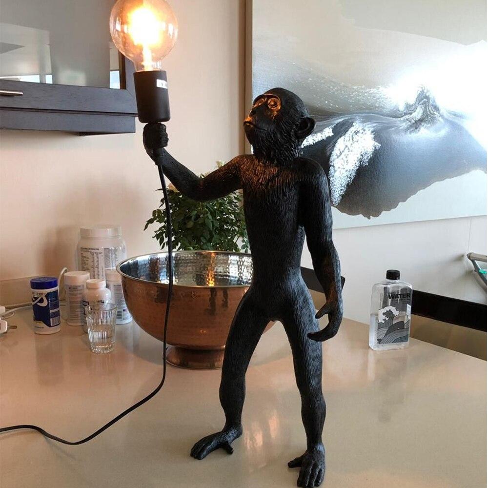 Resina preto branco ouro macaco lâmpada pingente luz para sala de estar lâmpadas sala estar estudo arte sala luzes led lustre com e27 lâmpada led - 2
