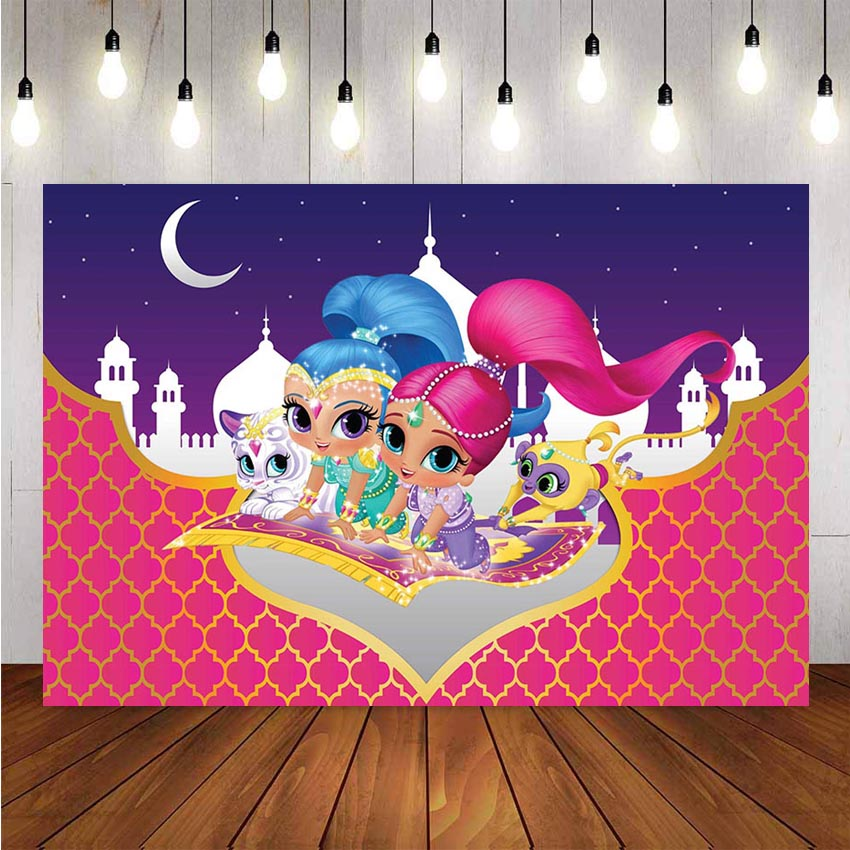 Photography Backdrops Cartoon Shimmer And Shine For Girls Birthday Party Custom Photo Studio Backdrop Baby Shower Background