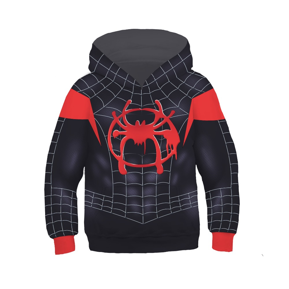 Kids Spider Man Into the Spider Verse Cosplay Hoodies Fashion Pullover Boys Spider-man Miles Morales Costumes Sweatshirts