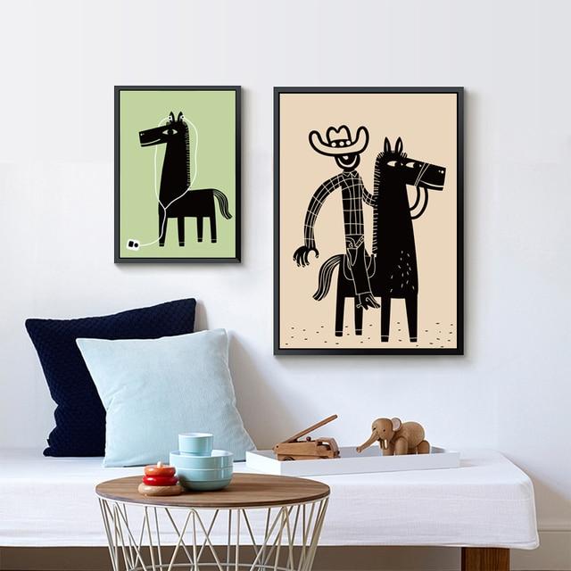 Elegante Poëzie Cowboy en Paard Cartoon Kinderen Decoratieve Canvas ...