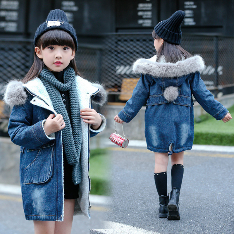 Kids Girls Denim Jacket Autumn Winter 2018 New Children's Hooded Long Coat Fur Collar Thick Outwear Velvet Cowboy Coats JF339 dark wash long denim coat jacket with hooded