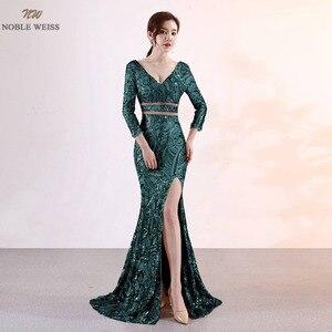 Image 2 - נובל וייס חדש הגעה שמלה לנשף נצנצים עמוק V צוואר סקסי ירך גבוהה חרכי Slim פשוט מחוך לוקסוס בת ים שמלה