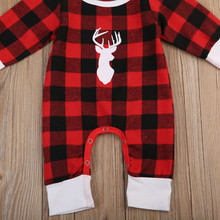 Pudcoco Christmas Autumn Toddler Infant Baby Boys Girls Long Sleeve Romper Red Plaid Deers Antler Print Jumpsuit Clothes Outfits