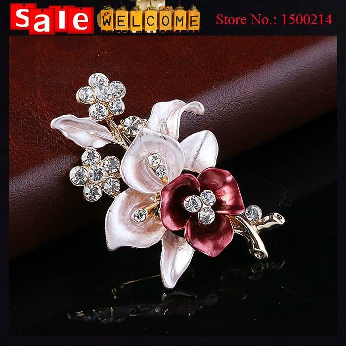720f2b12fdaa8 Enamel Garnet Scarf Clips Rhinestone Flower Crystal Breastpin Pin Lily  Flower Brooch Bouquet For Women Weddings Party Evening-in Brooches from  Jewelry ...