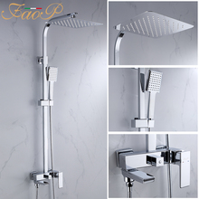 FAOP shower system chrome mixer faucet for bathroom mixer bathroom shower set waterfall shower faucet bath mixer phasat 3108 1 chrome plated copper concealed shower mixer faucet silver