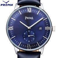 PREMA Mens Watches Top Brand Luxury Ultra Slim Calendar Display Quartz Watch Men 2016 Business Leather