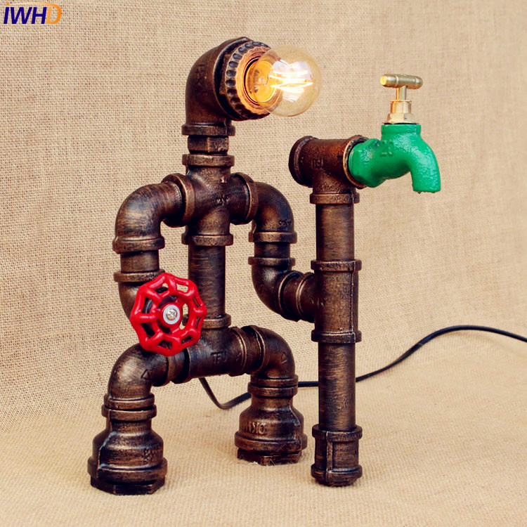 IWHD Edison LED Table Lamp Bedroom Bar Coffe Creative Water Pipe Table Light Vintage Industrial Candeeiro Luminaria De Mesa custom motorcycle injection road fairings kits for yamaha 2007 2008 yzfr1 yzf r1 07 08 red santander 41 fairing parts tank cover