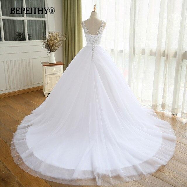 BEPEITHY V Neck Vintage Wedding Dress With Belt Vestido De Novia Casamento Beadings Bridal Gowns 2021 Ball Gown 2