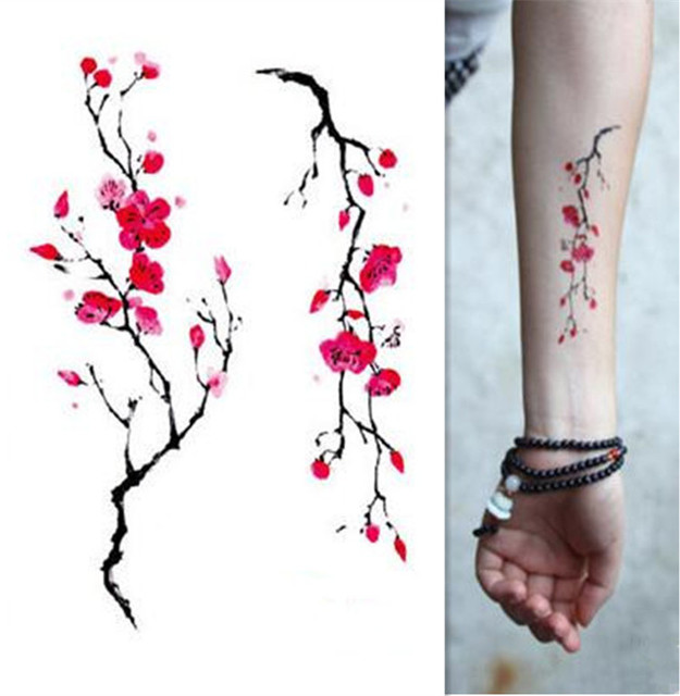 Rose Artificial Flowers Arm Shoulder Tattoo Stickes Flash Henna Fake Waterproof Temporary Tattoos Stickers Women On Body