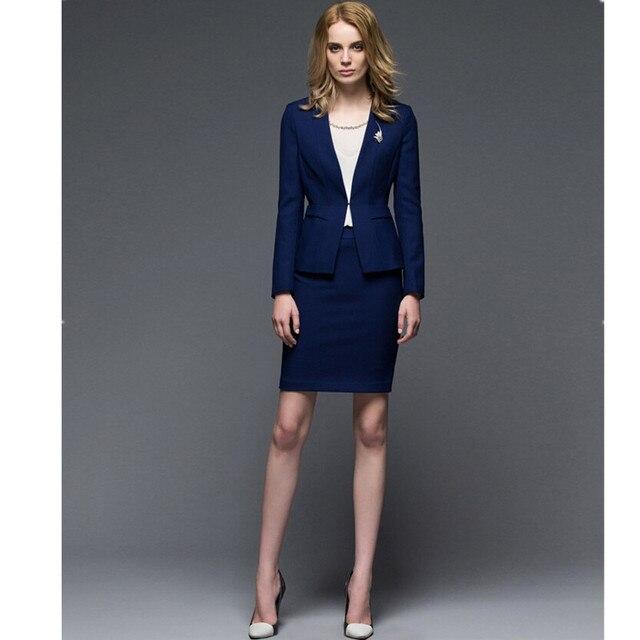 Высокого качества для женщин юбка костюмы тонкий с длинными рукавами контракт женщины с длинным рукавом костюм контракт женщины юбка костюмы