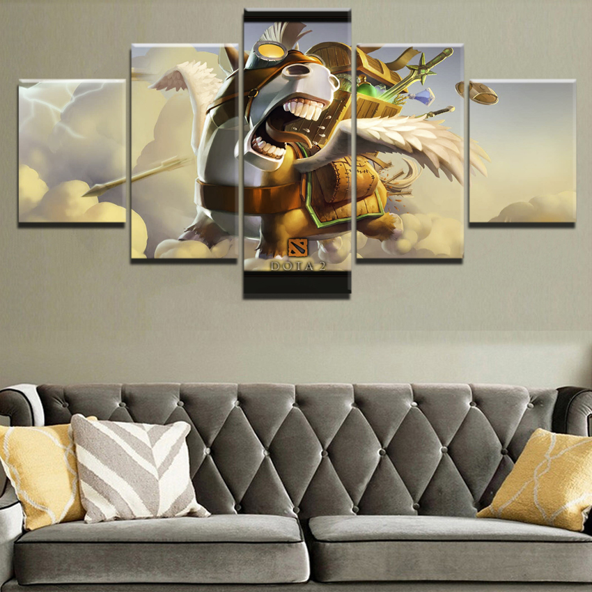 Canvas Painting 5 Panel Game Poster Home Decorative Living Room Canvas HD Printed Courier DotA 2 Horse Wall Art Modular Picture