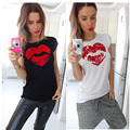 Women Summer T Shirt Casual Printed Red Lips Tee Top Female Tee shirt Woman Clothes LJ4530M