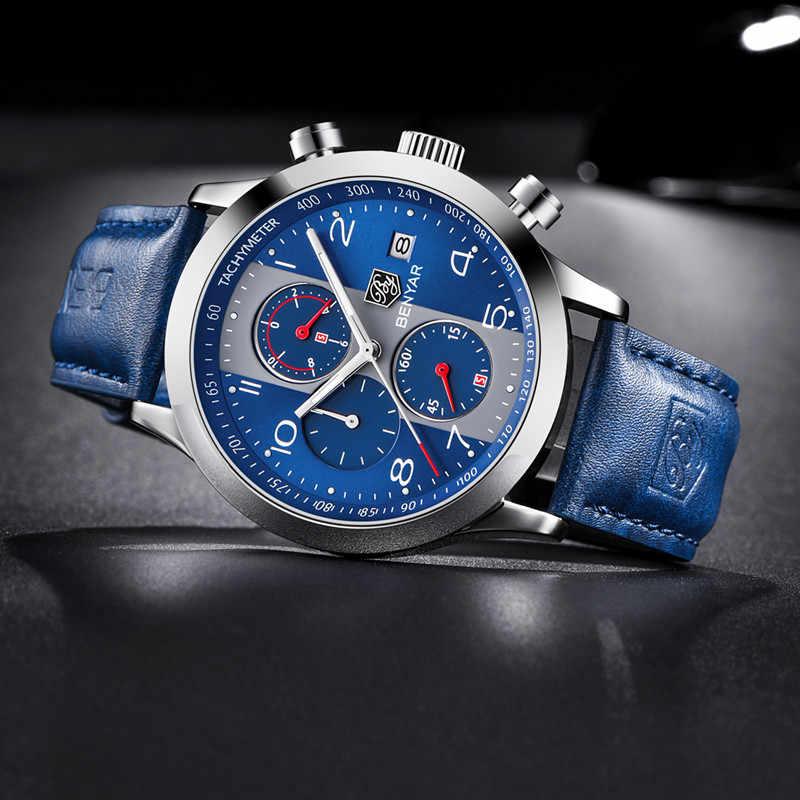 BENYAR עמיד למים ספורט למעלה מותג יוקרה קוורץ שעון גברים אופנה עור כחול רצועת הכרונוגרף כסף כחול חיוג reloj hombre