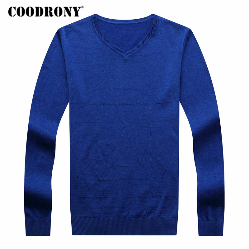 COODRONY Men Sweater Pull V-Neck Homme Cashmere-Wool Autumn Winter Casual Warm Soft 8194