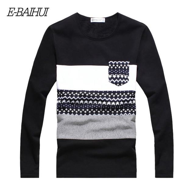 E-BAIHUI brand mens Clothing wool male autumn / winter warm long sleeve thick t shirt men JR036