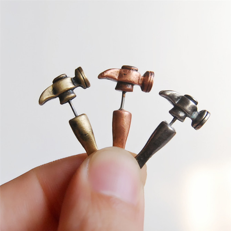 1 PC New Alloy Men Earrings Unique Personality Stud Earrings Small Hammer Design Silver/Bronze/Red Copper Colors Selection