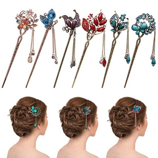 Винтаж Модные украшения кристалл шпильки головной убор синий кристалл волос Щупы для мангала шпилька для Для женщин девочек Женские аксессуары для волос